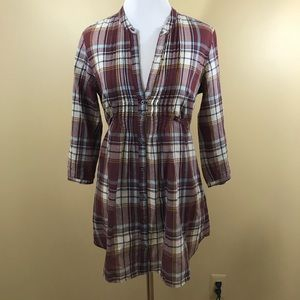 Hollister Cali Sheer Plaid Tunic Small